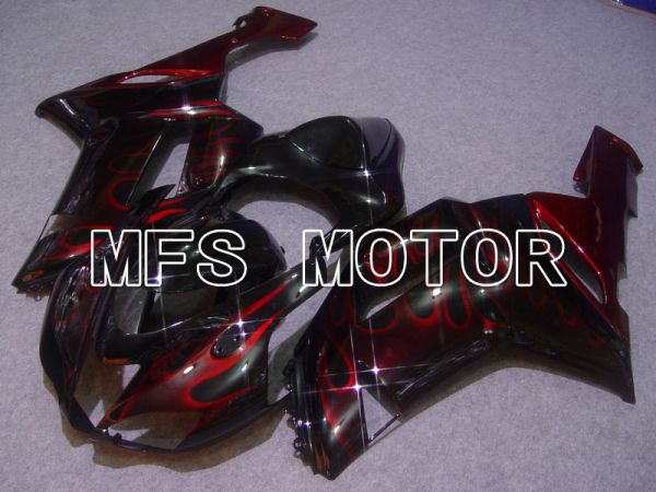 Kawasaki NINJA ZX6R 2007-2008 Injection ABS Fairing - Flame - Black Red - MFS5748
