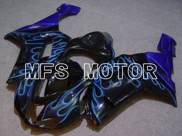 Kawasaki NINJA ZX6R 2007-2008 Injection ABS Fairing - Flame - Black Blue - MFS5752