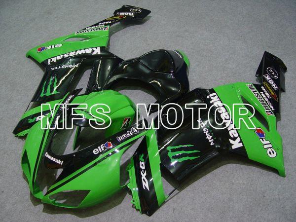 Kawasaki NINJA ZX6R 2007-2008 Injection ABS Fairing - Monster - Black Green - MFS5754