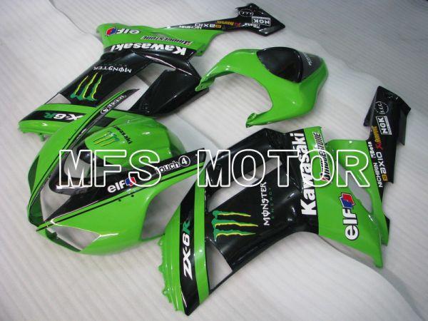 Kawasaki NINJA ZX6R 2007-2008 Injection ABS Fairing - Monster - Black Green - MFS5761
