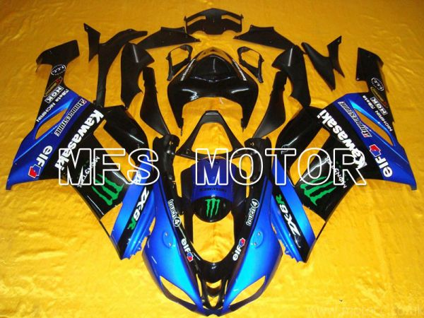 Kawasaki NINJA ZX6R 2007-2008 Injection ABS Fairing - Monster - Black Blue - MFS5763