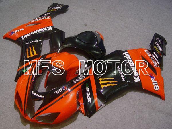 Kawasaki NINJA ZX6R 2007-2008 Injection ABS Fairing - Monster - Black Orange - MFS5769