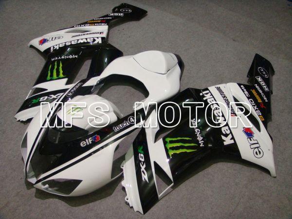 Kawasaki NINJA ZX6R 2007-2008 Injection ABS Fairing - Monster - Black White - MFS5770
