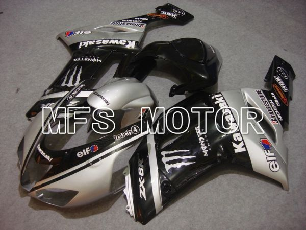 Kawasaki NINJA ZX6R 2007-2008 Injection ABS Fairing - Monster - Black Silver - MFS5772