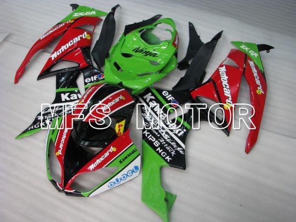 Kawasaki NINJA ZX6R 2009-2012 Injection ABS Fairing - Motocard - Red Green - MFS5829