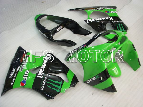 Kawasaki NINJA ZX6R 1998-1999 ABS Fairing - Monster - Black Green - MFS5878