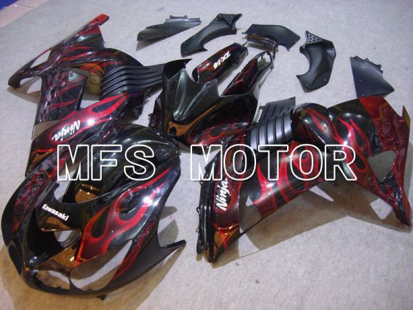 Kawasaki NINJA ZX14R 2006-2011 Injection ABS Fairing - Flame - Black Red - MFS6079